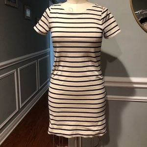 J.Crew Striped T-shirt dress with zippers